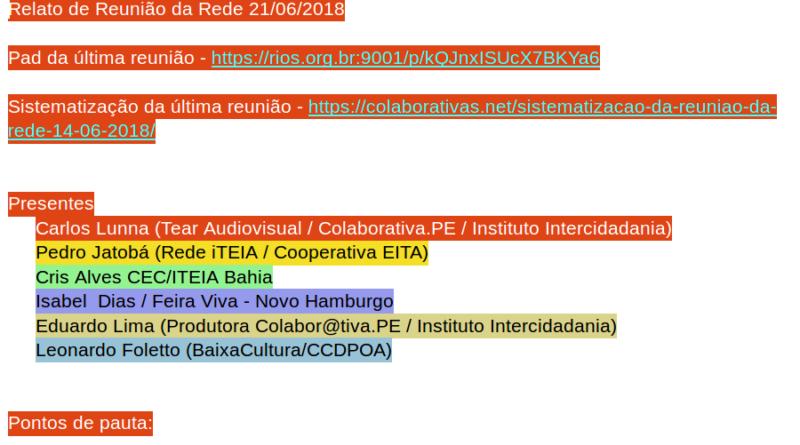 Sistematização Reunião da Rede 21/06/2018